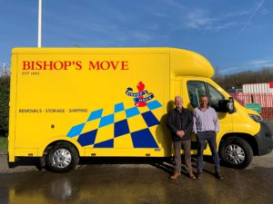 Gordon and Brett Mason in front of Bishops Move's Cardiff removals van