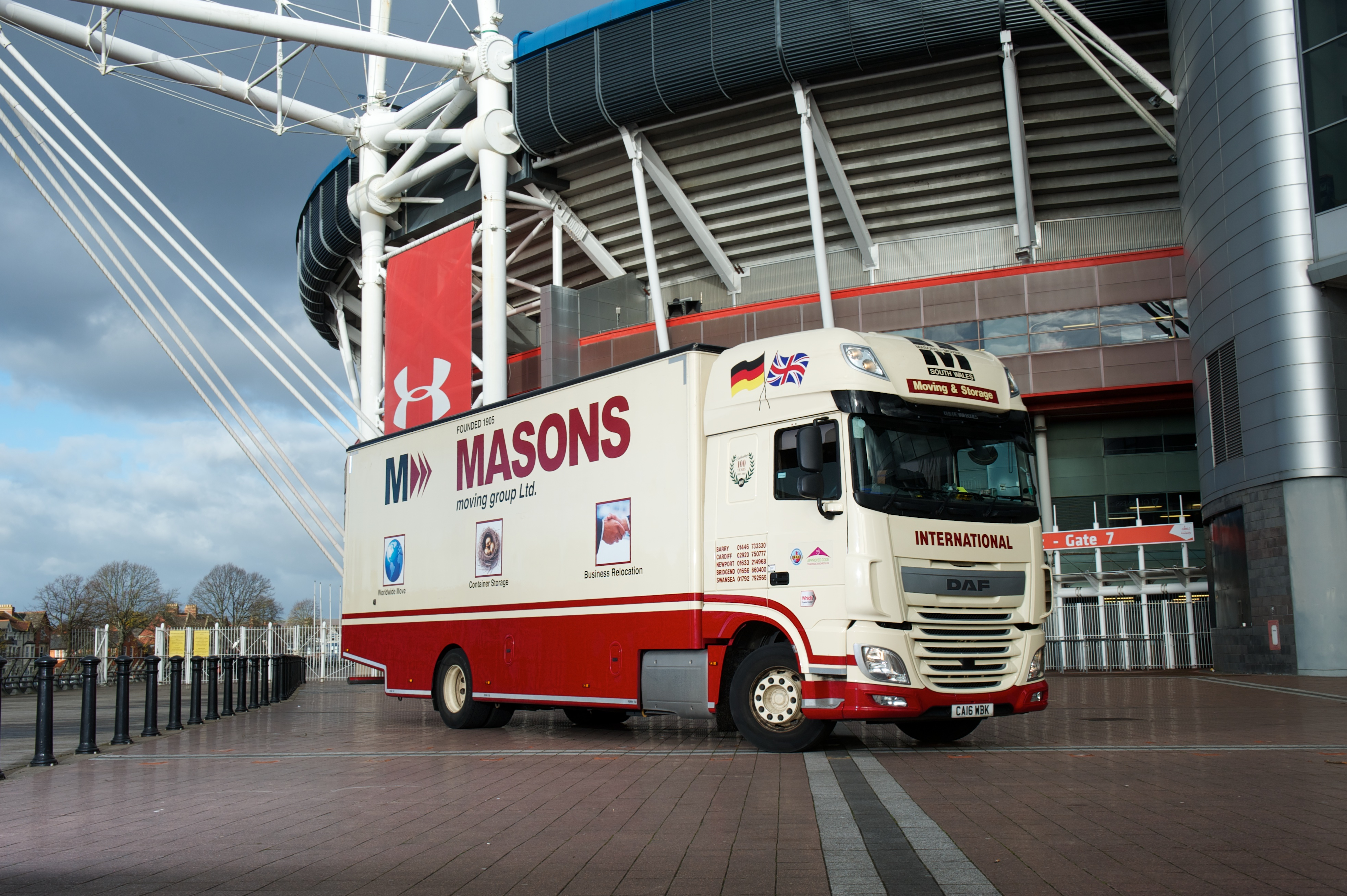 Masons Removals van at Cardiff Principality Stadium